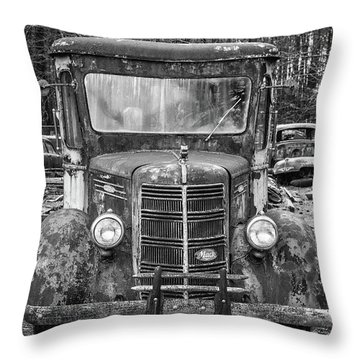 Mack Truck In A Junkyard Throw Pillow