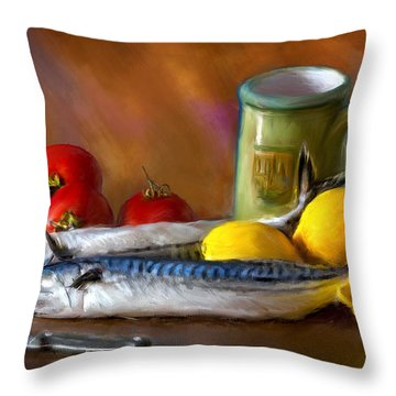 Mackerels, Lemons And Tomatoes Throw Pillow