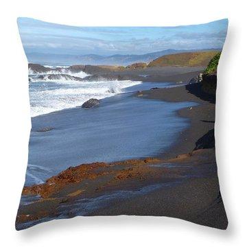 Mackerricher Beach Coastline Throw Pillow by Amelia Racca