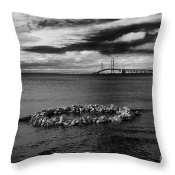 Mackinac Bridge - Infrared 03 Throw Pillow
