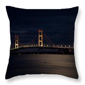 Mackinac Bridge At Night Throw Pillow