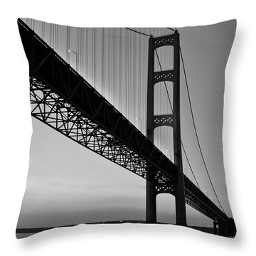 Mackinac Bridge At Sunset Throw Pillow
