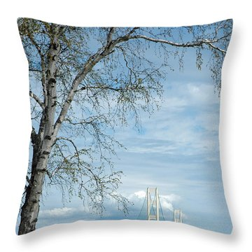Mackinac Bridge Birch Throw Pillow