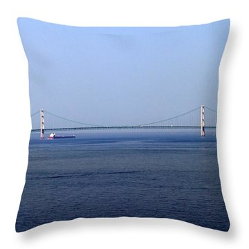 Mackinac Bridge Throw Pillow by Farol Tomson