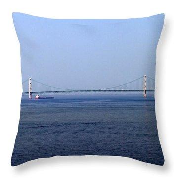 Throw Pillow featuring the photograph Mackinac Bridge by Farol Tomson