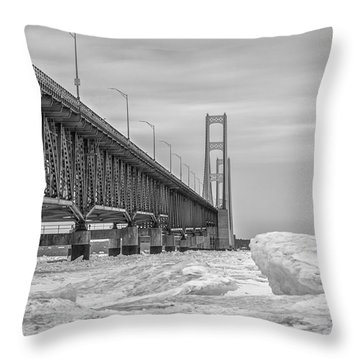 Throw Pillow featuring the photograph Mackinac Bridge Icy Black And White  by John McGraw