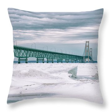 Throw Pillow featuring the photograph Mackinac Bridge In Winter During Day by John McGraw