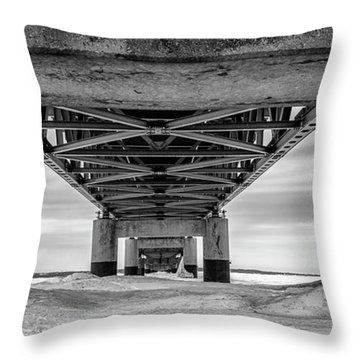 Throw Pillow featuring the photograph Mackinac Bridge In Winter Underneath  by John McGraw