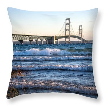 Throw Pillow featuring the photograph Mackinac Bridge Michigan by Mary Lee Dereske