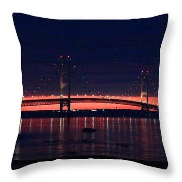 Mackinac Bridge On A June Evening Throw Pillow