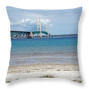 Throw Pillow featuring the photograph Mackinac Bridge Path To Lake by LeeAnn McLaneGoetz McLaneGoetzStudioLLCcom