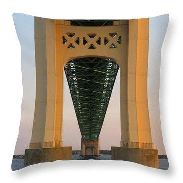 Mackinac Bridge Tower At Sunset Throw Pillow