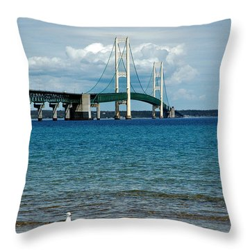 Throw Pillow featuring the photograph Mackinac Bridge With Seagull by LeeAnn McLaneGoetz McLaneGoetzStudioLLCcom