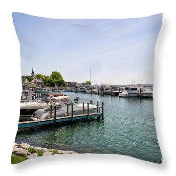 Mackinac Island Marina Throw Pillow