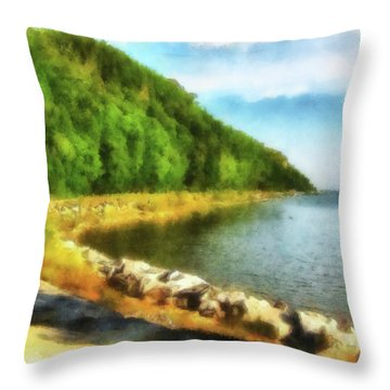 Mackinac Island Michigan's Northeast Shore Throw Pillow