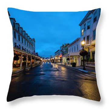 Mackinac Island Town At Dawn Throw Pillow