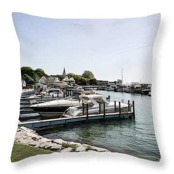 Mackinac Marina Art Throw Pillow