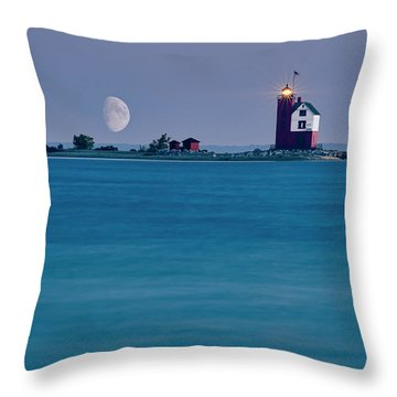 Throw Pillow featuring the photograph Mackinac Moon by Dan McGeorge