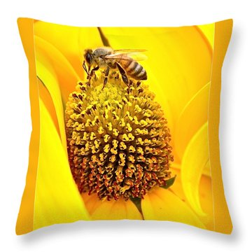 Macro Bee Throw Pillow
