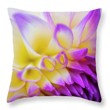 Macro Dahlia Throw Pillow