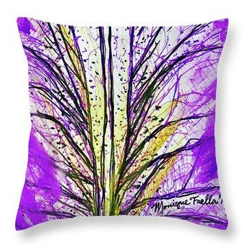 Throw Pillow featuring the mixed media Macro Iris Petal by Monique Faella