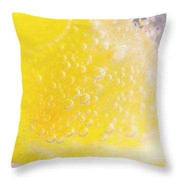 Macro Lemonade Bubbles Throw Pillow