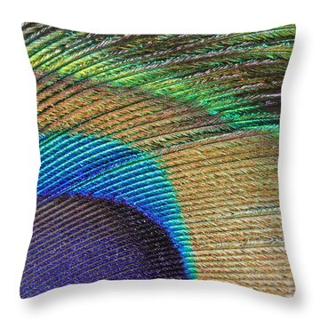 Macro Peacock Feather Throw Pillow