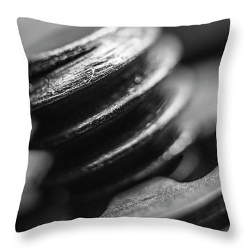 Throw Pillow featuring the photograph Macro Screw Bolt Black White by David Haskett