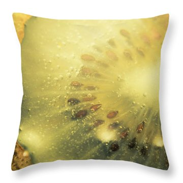 Macro Shot Of Submerged Kiwi Fruit Throw Pillow