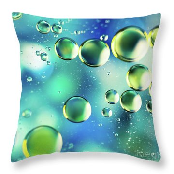Throw Pillow featuring the photograph Macro Water Droplets Aquamarine Soft Green Citron And Blue by Sharon Mau