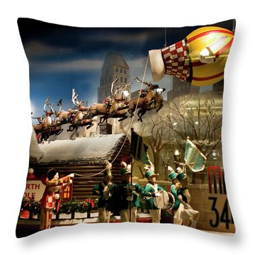 Macy's Miracle On 34th Street Christmas Window Throw Pillow by Lorraine Devon Wilke