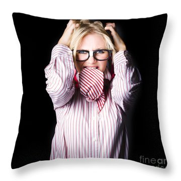 Mad And Angry Businesswoman Pulling Out Hair Throw Pillow by Jorgo Photography - Wall Art Gallery