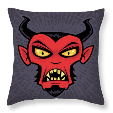 Mad Devil Throw Pillow by John Schwegel