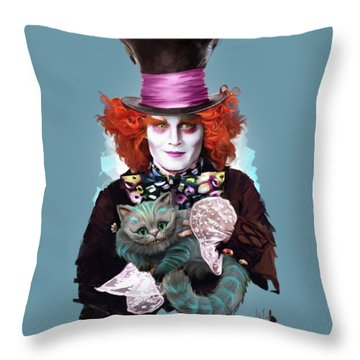 Mad Hatter And Cheshire Cat Throw Pillow by Melanie D