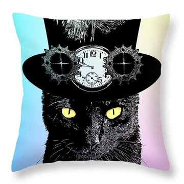Mad Hatter Cat Throw Pillow
