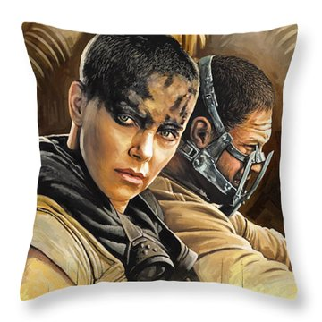 Throw Pillow featuring the painting Mad Max Fury Road Artwork by Sheraz A