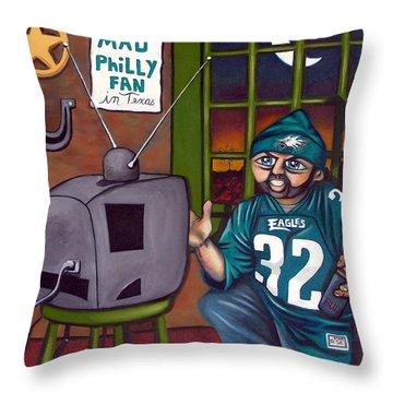 Mad Philly Fan In Texas Throw Pillow by Elizabeth Lisy Figueroa
