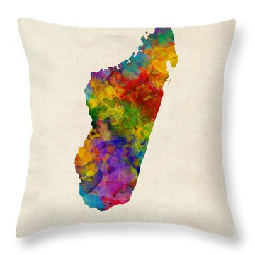 Throw Pillow featuring the digital art Madagascar Watercolor Map by Michael Tompsett
