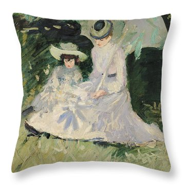 Madame Helleu And Her Daughter At The Chateau Of Boudran Throw Pillow by Paul Cesar Helleu