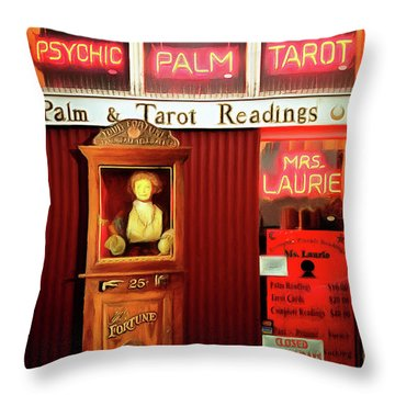 Throw Pillow featuring the photograph Madame Lauries Psychic Palm Tarot Fortune Be Told Closed For Holiday Please Use Atm Circa 2016 V2 by Wingsdomain Art and Photography