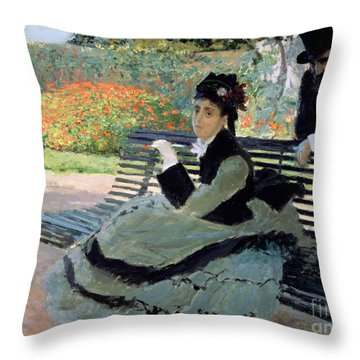 Madame Monet On A Garden Bench Throw Pillow by Claude Monet
