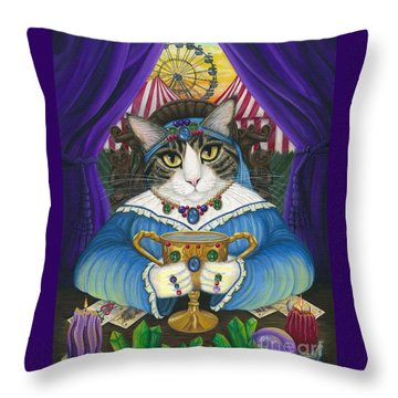 Madame Zoe Teller Of Fortunes - Queen Of Cups Throw Pillow