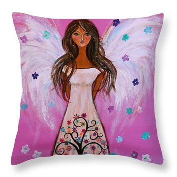 Throw Pillow featuring the painting Pink Angel Of Life by Pristine Cartera Turkus