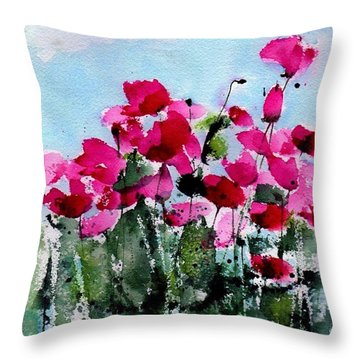 Maddy's Poppies Throw Pillow
