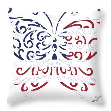 Made In The Usa Tribal Butterfly Throw Pillow