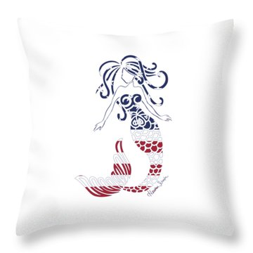 Made In The Usa Tribal Mermaid Throw Pillow