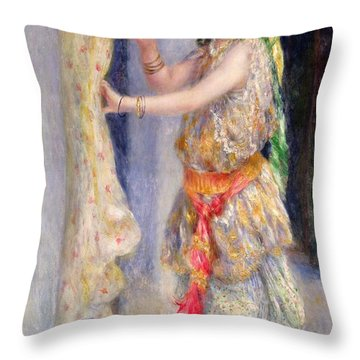 Mademoiselle Fleury In Algerian Costume Throw Pillow by Pierre Auguste Renoir