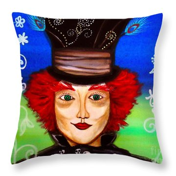 Throw Pillow featuring the painting Madhatter by Pristine Cartera Turkus