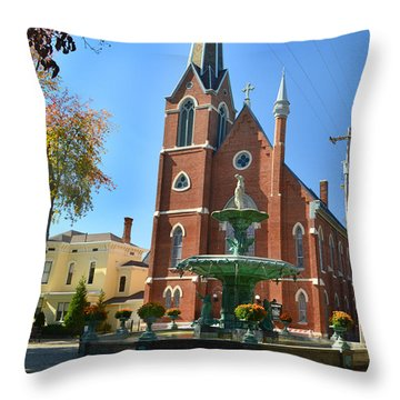 Madison Church And Water Fountain Throw Pillow