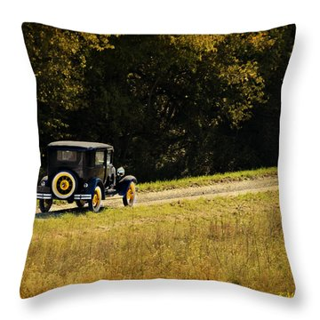 Madison County Back Roads-ford Throw Pillow